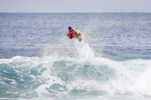 Italo Ferreira placed second in Heat 5 of Round Three of the Billabong Pipe Masters at Pipeine, Oahu, Hawaii.