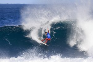 Filipe Toledo of Brazil advanced to the Semifinals after defeating Adriano de Souza (BRA) in Quarter Final Heat 3 of the Drug Aware Margaret River Pro in clean 6 - 8 foot conditions at the Main Break, Western Australia.