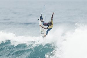 Reigning John John Florence and Jeep Rankings Leader John John Florence of Hawaii advanced directly to the Quarterfinals after winning Heat 2 of Round Four at the Rip Curl Pro Bells Beach in 6 - 8 foot conditions at Bells Beach.