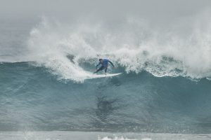 Caio Ibelli of Brazil advanced directly to the Quarterfinals after winning Heat 1 of Round Four at the Rip Curl Pro Bells Beach in 6 - 8 foot conditions at Bells Beach.