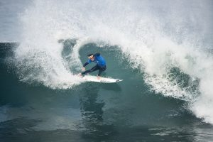 Jordy Smith of South Africa advances to the final after winning Semifinal Heat 2 at the Rip Curl Pro Bells Beach.