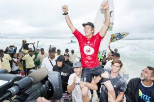 John John Florence chaired up the beach as the 2016 Oi Rio Pro WINNER.