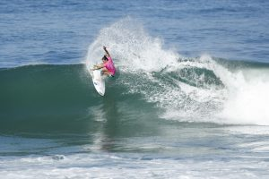 Johanne Defay of France placed runner-up to reigning Women's World Champion Tyler Wright of Australia in the final of the Oi Rio Women's Pro at Saquarema, Rio de Janeiro, Brazil.